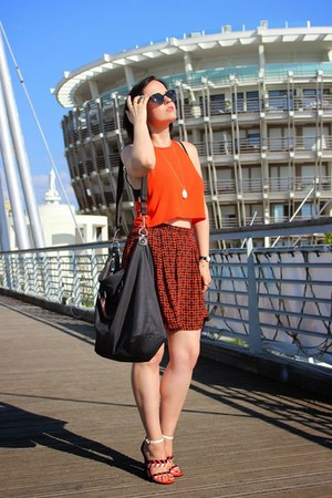 black Borbonese bag - black Pimkie sunglasses - carrot orange Pimkie skirt