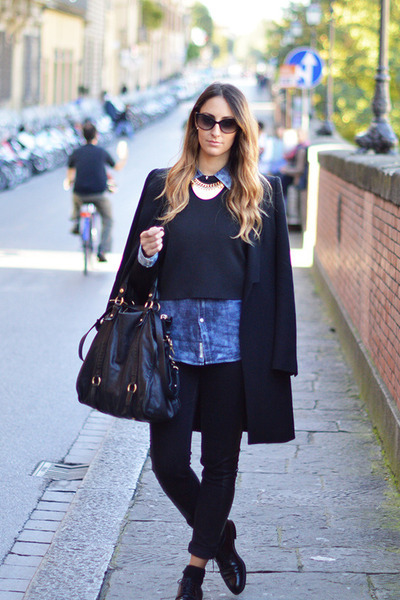black CHURCHS shoes - black Zara coat - black H&M jeans