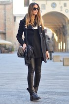 black strategia boots - black Zara dress - black Pinko coat