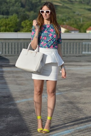 white peplum Sheinside skirt - off white Prada bag - ivory Zara sunglasses