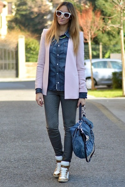 teal True Religion shirt - light pink Zara blazer - teal Miu Miu bag