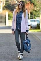 teal True Religion shirt - light pink Zara blazer - teal Miu Miu bag