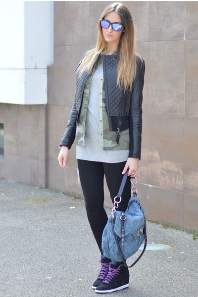 black leather jacket Pinko jacket - camouflage Zara shirt - teal Miu Miu bag