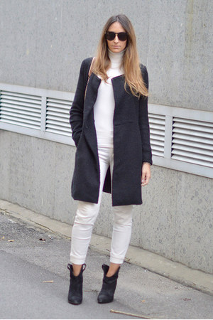 black Zara boots - black Sheinside coat