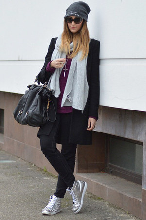 black Zara coat - heather gray H&amp;M scarf - black Miu Miu bag