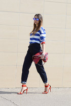 red Stella McCartney bag - teal LoveIt Jeans jeans - black Oakley sunglasses