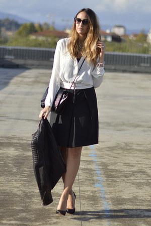 white QL2 blouse - black H&M jacket - black Zara bag - black QL2 skirt