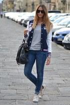 navy OASAP jacket - blue Rifle jeans - black Miu Miu bag