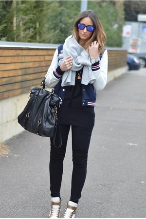 my brand sweater - H&M scarf - Miu Miu bag - Oakley sunglasses