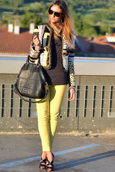 yellow Rinascimento jacket - black Givenchy bag - yellow Mango pants