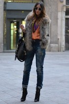 black Versace for H&M boots - navy H&M jeans - orange Zara shirt