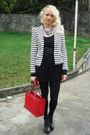 Chanel-purse-zara-blazer-penny-black-dress-aldo-shoes