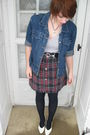Blue-thrifted-jacket-gray-shirt-black-belt-red-home-made-skirt-black-sto