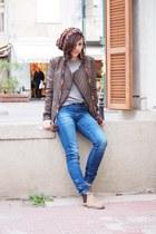 blue Zara jeans - nude asoscom boots