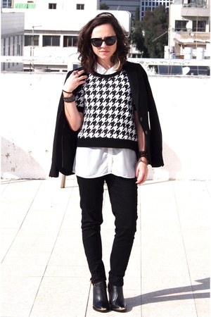 black H&M blazer - white Zara shirt - black H&M pants - white H&M blouse