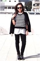 black H&M blazer - white Zara shirt - black H&M pants - white H&M blouse