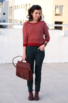 ruby red Zara jumper - dark green Zara pants