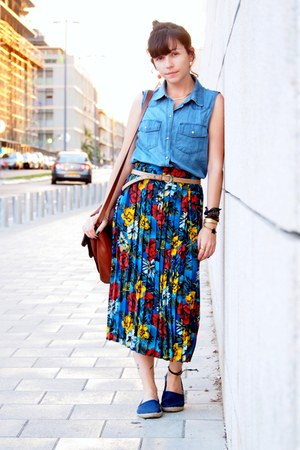 blue second hand skirt - sky blue Forever 21 shirt - crimson Zara bag