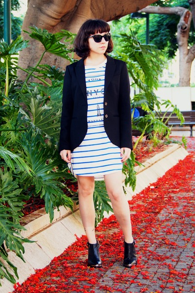 white Mango dress - black H&M jacket
