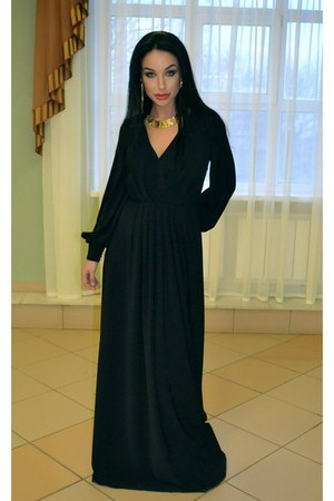 black irina schrotter dress - dress - H&amp;M necklace - H&amp;M earrings