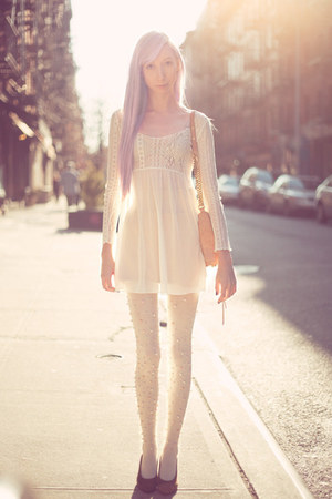 white sheer lace dress - white pearl DIY tights