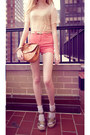 Cream-lace-american-apparel-shirt-salmon-american-apparel-shorts