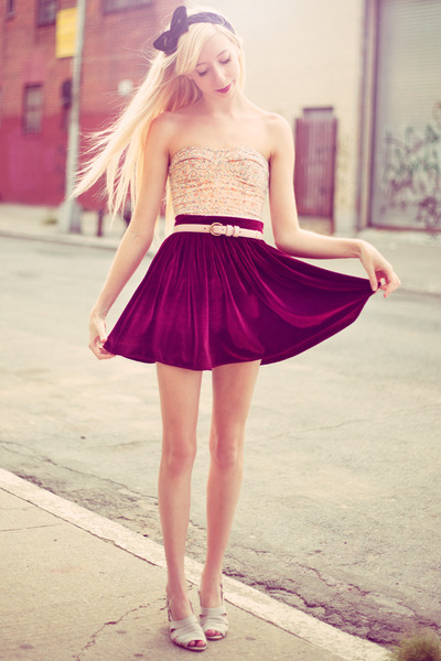 crimson velvet American Apparel skirt - peach floral corset Urban Outfitters top