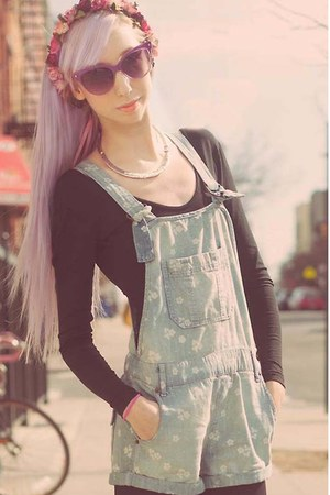 light blue overalls free people romper - silver collar free people necklace