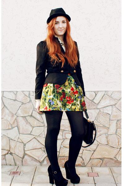 chartreuse korea skirt - black H&M hat - black Atmosphere blazer
