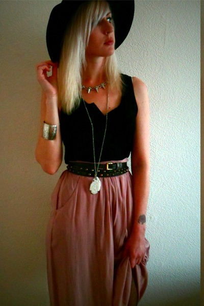 H&M hat - H&M top - mink pink maxi Topshop skirt - silver spiked Ebay necklace