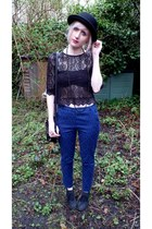 black H&M hat - black H&M top - black H&M bra - navy Primark pants