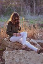 white Mango jeans - army green button down Aerie shirt - Urban Outfitters sungla
