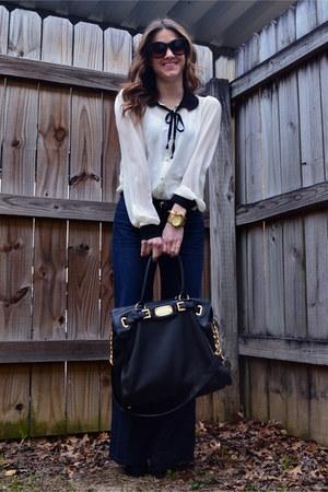 black Michael Kors bag - navy Joes Jeans jeans - ivory Forever 21 blouse