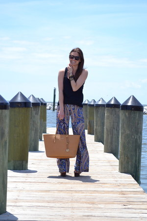 blue Ideeli pants - bronze Michael Kors bag - black Karen Walker sunglasses