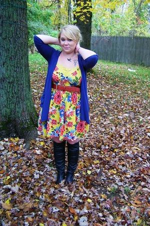 Target dress - Target boots - Target necklace - thrifted belt - Poof cardigan