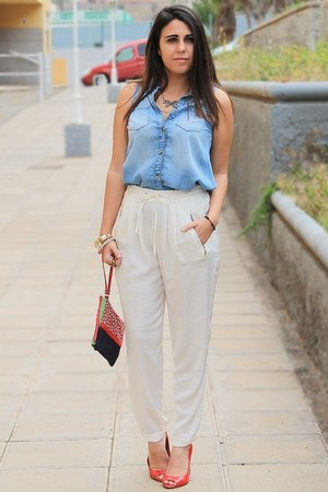 red Triste Doll bag - ivory Zara pants - light blue Shana blouse