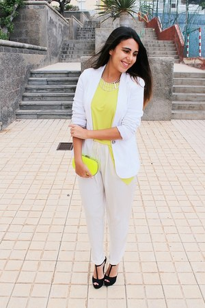yellow BLANCO bag - white pull&amp;bear blazer - yellow Zara blouse