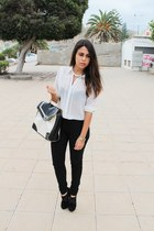 white Primark blouse - white Primark bag - black Shana pants