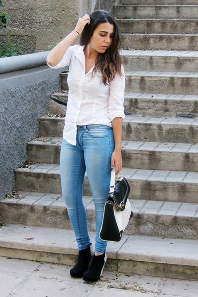 black Marypaz boots - sky blue Primark jeans - white pull&bear shirt
