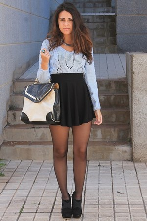 light blue PERSUNMALL sweater - black Primark bag - black Oasapcom skirt