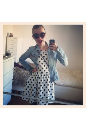 white polkadot H&M dress - light blue jeans jacket H&M jacket