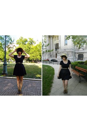 navy Forever 21 dress - cream iam hat - dark brown River Island loafers