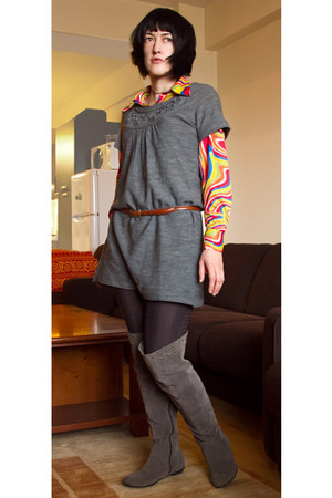 yellow multi-colored Koto shirt - heather gray dress Only sweater