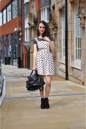 suede Mango boots - dotter pinafore Primark dress - leather Zara bag