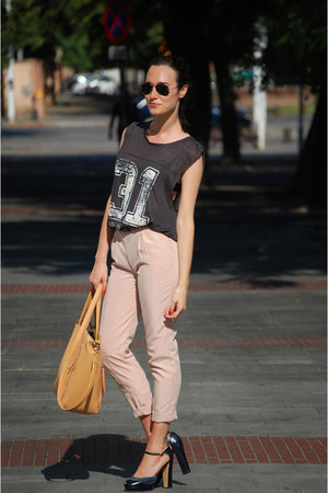 neutral Bershka pants - navy Mango heels - dark gray Zara top