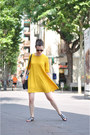 Mustard-zara-dress-dark-green-otherstories-sandals