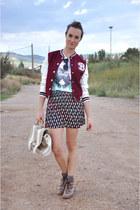crimson varsity Oasapcom jacket - dark brown leather Zara boots