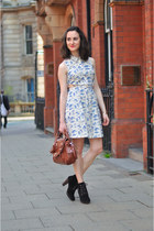 suede Mango boots - toile de jouy Primark dress - david jones bag