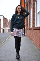 forest green jeweled H&M jumper - black studded blink boots