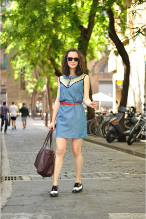 black Clarks shoes - blue Titis Clothing dress - crimson Zara bag